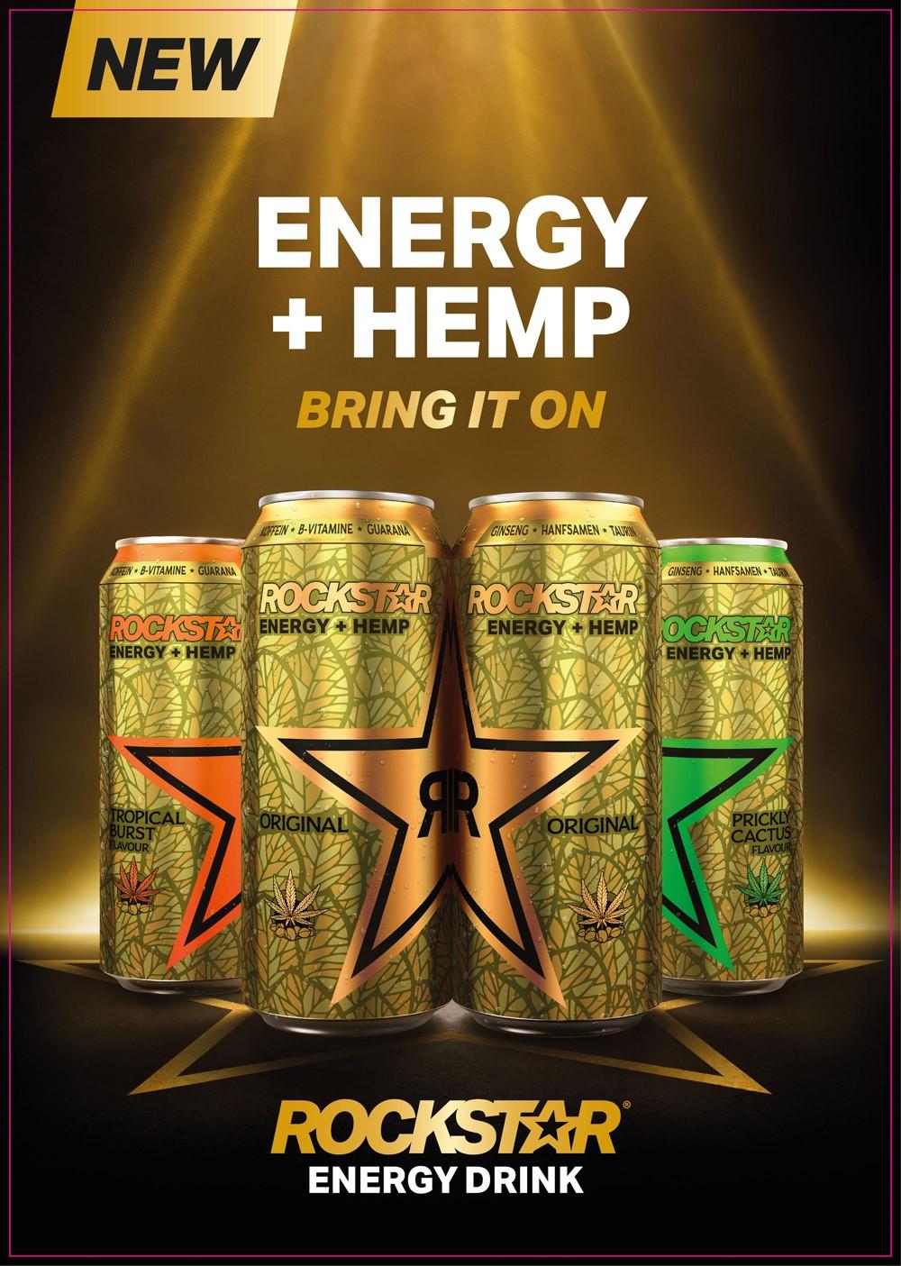 Energy Drink mit Hanfsamenextrakt: PepsiCo launcht Rockstar Energy + HEMP