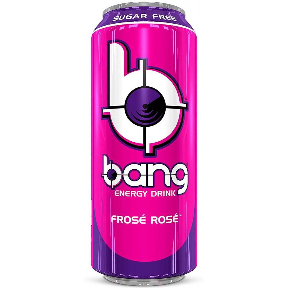 Der BANG Energy Drink von VPX schmeckt nicht nur super erfrischend, sondern ist kalorienarm und enthält neben dem Koffein-Kick auch BCAA-Aminosäuren und ist zudem zuckerfrei. Bang Energy Drink ist ein extrem kalorienarmer Energydrink für unterwegs, bei der Arbeit und in der Freizeit und eine figurbewusste Alternative zu zuckerhaltigen Sport- und Fitnessgetränken. Bang Frosé Rosé, 12 Dosen (12 x 0,5L). Zutaten: Kohlensäurehaltiges Wasser, Aminosäuren (L-Leucin, Glycin, L-Isoleucin, L-Valin), Lebensmittelsäuren (Zitronensäure, Apfelsäure, Weinsäure), Aromen, Säureregulatoren (Kaliumcitrat, zweibasisches Kaliumphosphat, Süßstoffe (Sucralose, Acesulfam-k), Konservierungsstoffe (Kaliumsorbat, Natriumbenzoat), natürliches Koffein (0,032%), Vitamine (Niacin, B6, B12). Durchschnittliche Nährwerte pro: 100 ml Energie 4 Kj/1 kcal Fett 0 g davon ges. Fettsäuren 0 g Kolenhydrate 0 g davon Zucker 0 g Eisweiß 0 g Salz 0,0 g Niacine 1,6 mg Vitamin B6 0,14 mg Vitamin B12 0,5 µg